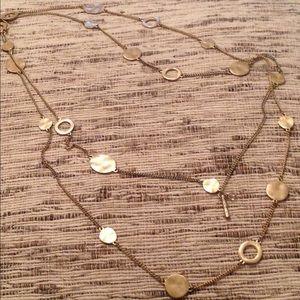 💫Kenneth Cole Hammered Gold tone necklace, long